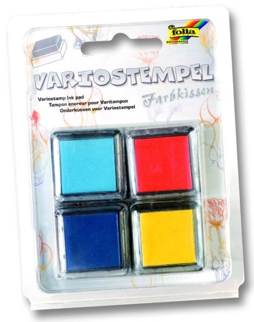 Razítkovací polštářky - sada modrá světlá, modrá tmavá, žlutá, oranžová Folia