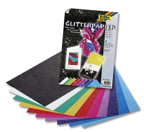 Papír se třpytkami - 70g/m2 - 23x33 cm, 10 listů, barevný Folia