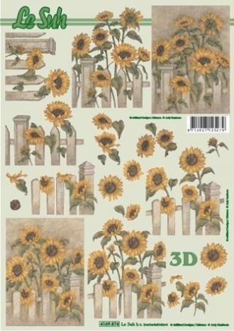 Slunečnice - plot - 3D papír Le Suh