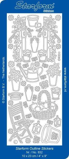Obrysové samolepky - zahradnické potřeby stříbrné ostatní