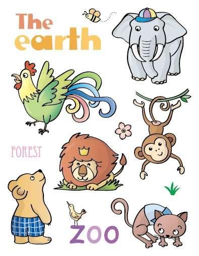 """Gelová razítka - sada Zvířátka """"The earth"""" ostatní"""