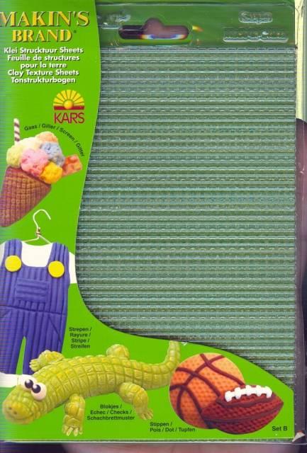 Textury ( strukturovací podložky)- sada B - proužky, kostky, mříž, tečky Makin's