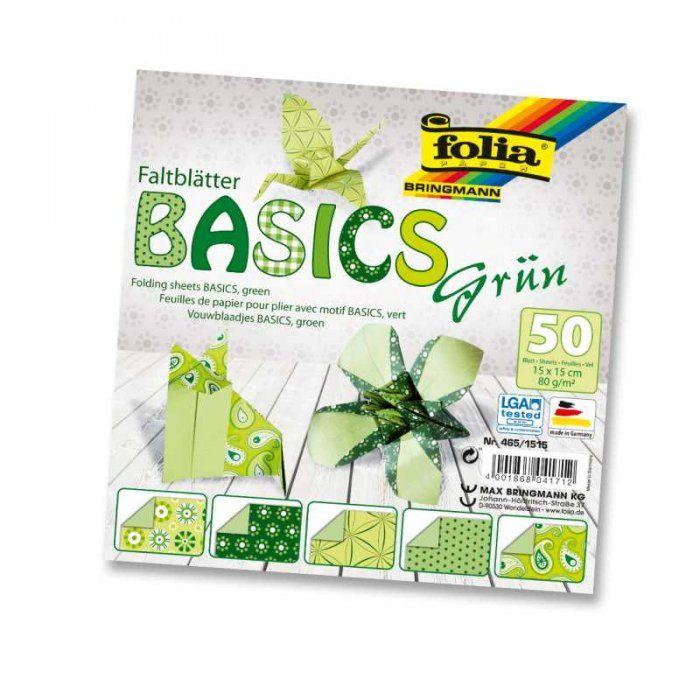 Papíry na skládání Origami - zelené 50 listů 15x15 cm, 80g Folia