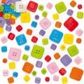 Barevné knoflíky čtverečky 200ks - mix barev a velikostí