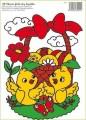 Zvětšit fotografii - Fólie velikonoční kuřátka s košíkem 33x23cm