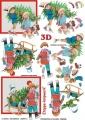 Děti se stromkem - 3D papír