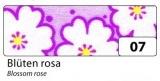 Fabric Tape - dekorační lepicí látková páska - 4m x 15mm růžové květy
