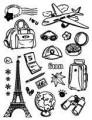 Gelová razítka - sada Cestování Paříž 14x18cm
