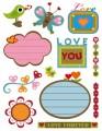 Gelová razítka - sada Láska + štítky se srdíčky 14x18 cm