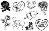 Zvětšit fotografii - Gelová razítka - sada Srdíčka a květiny 10 x 15 cm