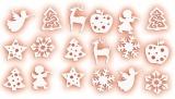 Mix filcových dekorací - Vánoce bílý mix 18ks