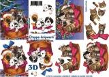 Vánoční psi a kočky - 3D papír