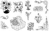 Gelová razítka - sada Květiny 10 x 15 cm