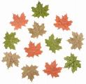 Výseky dřevěné - listy 4 cm, 3 barvy - 12ks