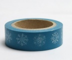 Zvětšit fotografii - Washi Tape - dekorační lepicí páska - 10mx15mm - BÍLÉ VLOČKY V MODRÉ