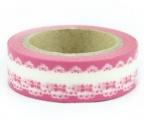 Washi Tape - dekorační lepicí páska - 10mx15mm - BORDURA V RŮŽOVÉ