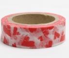 Washi Tape - dekorační lepicí páska - 10mx15mm - ČERVENÉ SRDCE V BÍLÉM