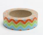 Zvětšit fotografii - Washi Tape - dekorační lepicí páska - 10mx15mm - CIKCAK MODRÁ,ZELENÁ,ORANŽOVÁ
