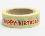 Washi Tape - dekorační lepicí páska - 10mx15mm - HAPPY BIRTHDAY