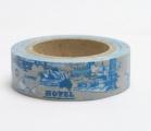 Washi Tape - dekorační lepicí páska - 10mx15mm - HOTEL, CESTOVÁNÍ V MODRÉM