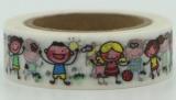 Zvětšit fotografii - Washi Tape - dekorační lepicí páska - 10mx15mm - HRAJÍCÍ SI DĚTI