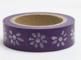 Zvětšit fotografii - Washi Tape - dekorační lepicí páska - 10mx15mm - KVĚTINY VE FIALOVÉ