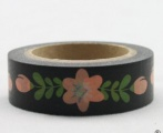 Washi Tape - dekorační lepicí páska - 10mx15mm - KVĚTINY V ČERNÉ