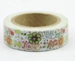 Washi Tape - dekorační lepicí páska - 10mx15mm - KVÍTÍ S PTÁČKY
