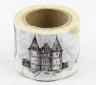 Zvětšit fotografii - Washi Tape - dekorační lepicí páska - 10mx38mm - HRAD, RYTÍŘ