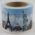 Zvětšit fotografii - Washi Tape - dekorační lepicí páska - 10mx38mm - STAVBY SVĚTA