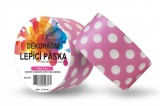 Duct Tape - dekorační lepicí páska - 5m x 48mm - BÍLÉ PUNTÍKY V RŮŽOVÉ