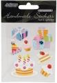 Papírové samolepky s 3D doplňky - dortík