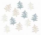 Výseky dřevěné - stromky šedé 4 cm, 3 barvy - 12 ks