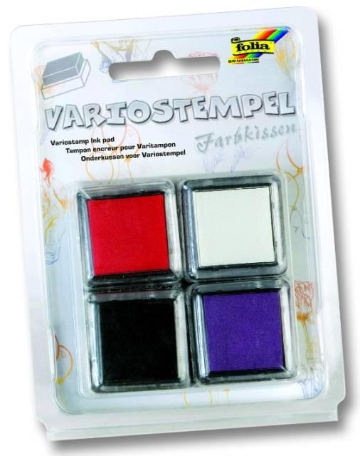 Razítkovací polštářky - sada červená, bílá, černá, fialová Folia