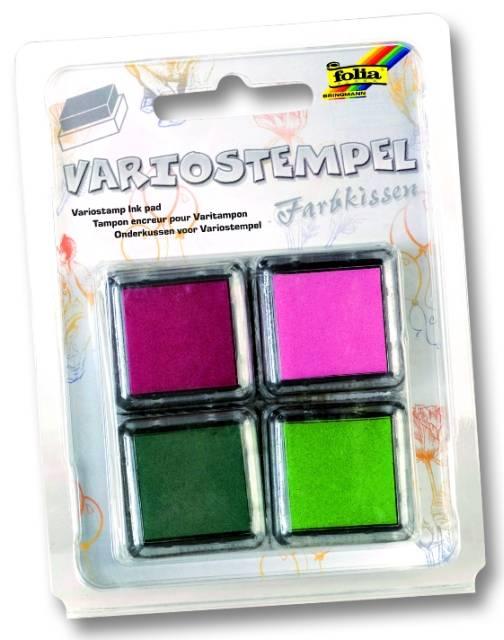 Razítkovací polštářky - sada růžová, bordo, zelená světlá, zelená tmavá Folia