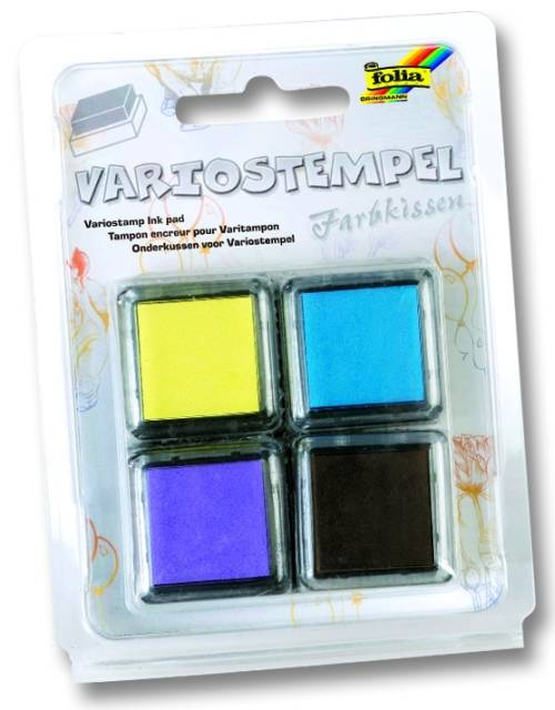 Razítkovací polštářky - sada žlutá, fialová, modrá světlá, černá