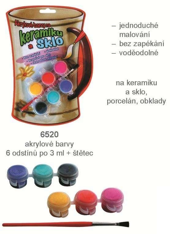 Akrylové barvy na keramiku a sklo 6 odstínů á 3 ml + štětec AMOS