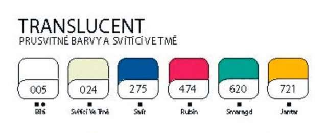 Cernit polymerová hmota 56g - průsvitné barvy a barva svítící ve tmě ostatní