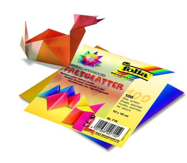 Duhové papíry na skládání Origami 100 listů, 10x10 cm, 70g Folia