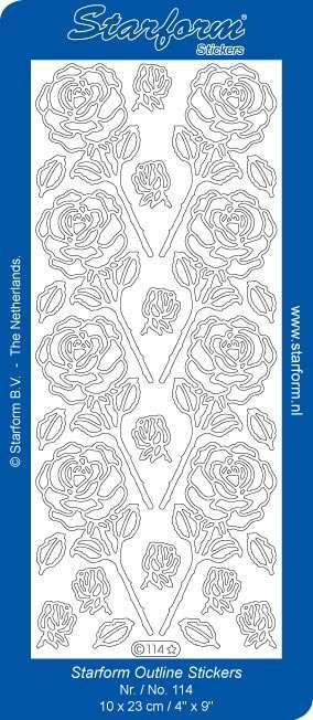 Obrysové samolepky - růže stříbrné ostatní