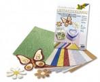 Metalizované papíry - květiny - 10ks 23x33cm, mix barev