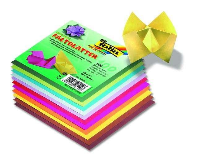 Papíry na skládání Origami 100 listů, 15x15 cm, 70g - mix barev Folia