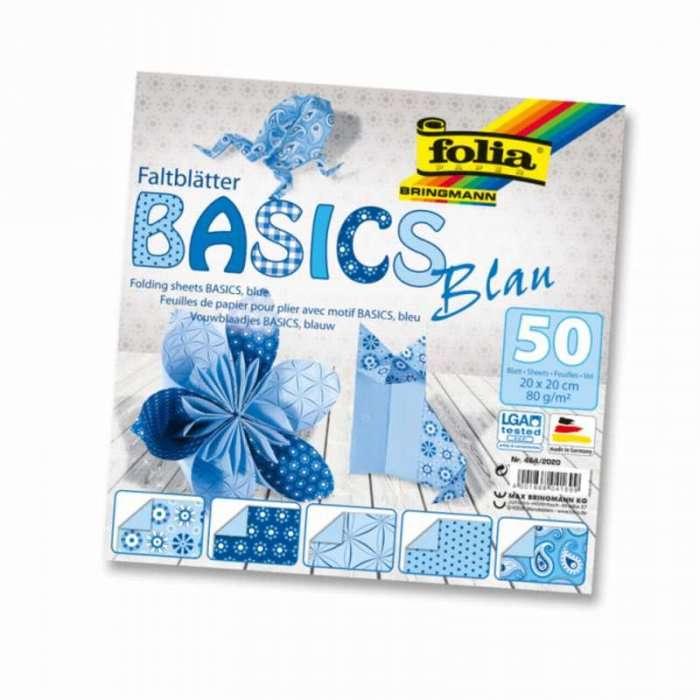 Papíry na skládání Origami - modré 50 listů 15x15 cm, 80g Folia
