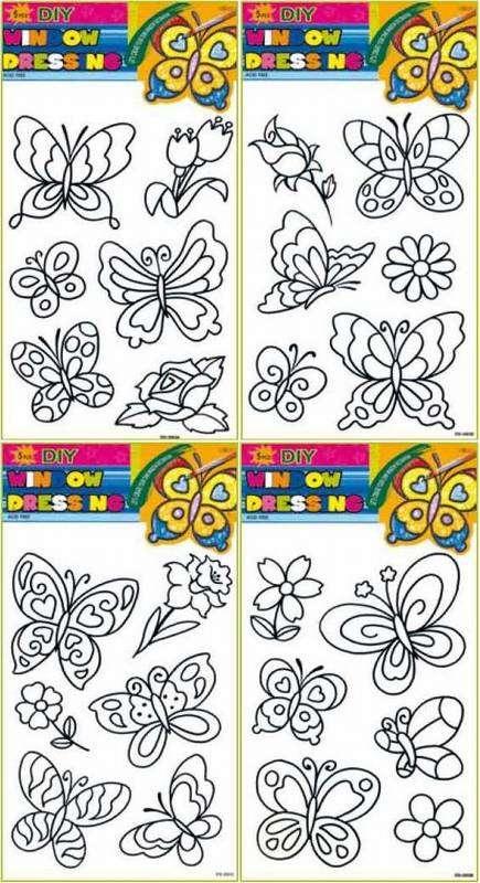 Předlohy na adhézní folii - motýli a květiny Andel
