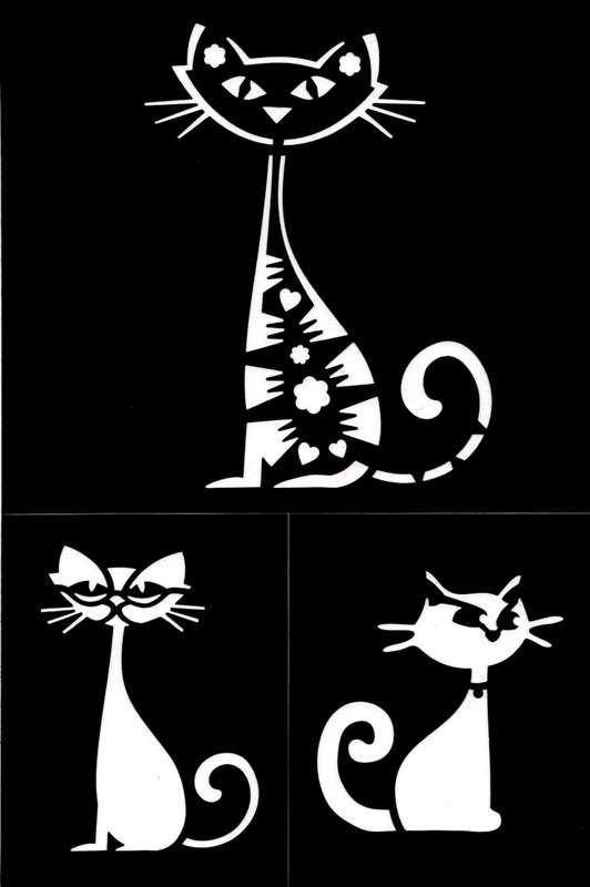 Samolepící flexi šablona kočky 18x12 cm ostatní