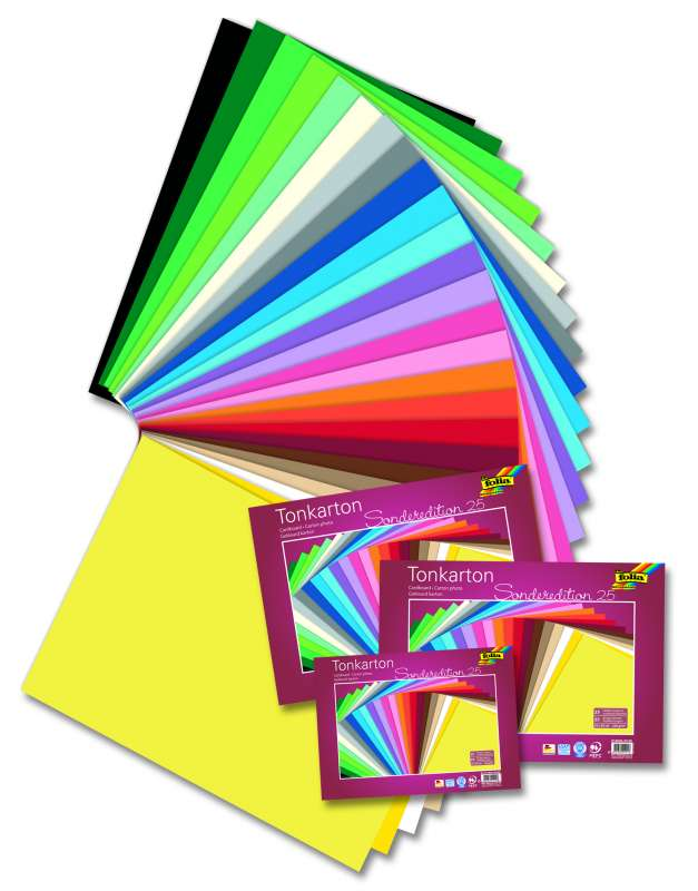 Barevný karton 220g/m2 - 25 listů ve 25 barvách 25x35 cm Folia