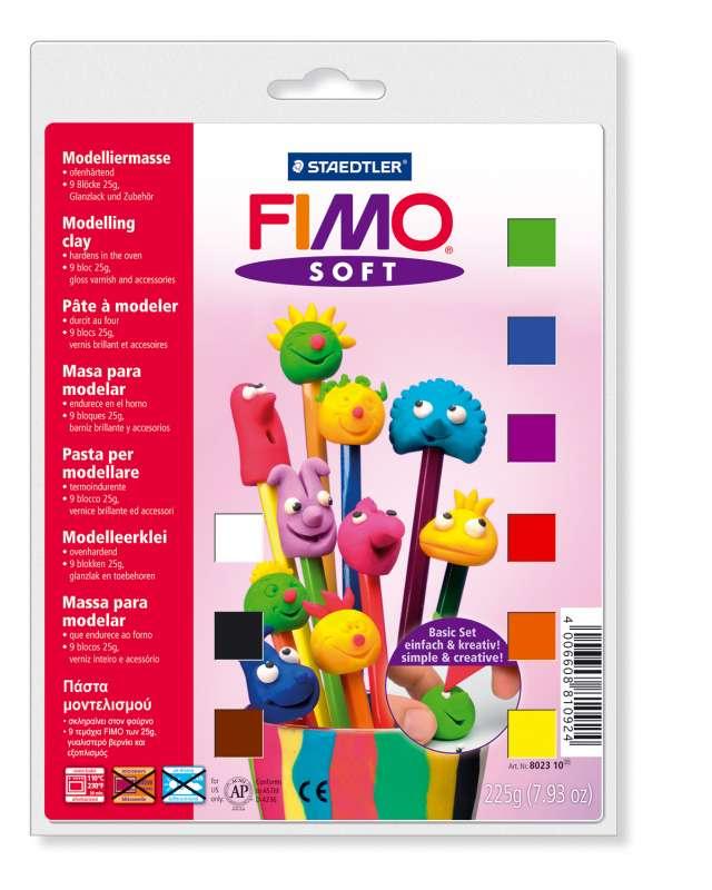 FIMO hmota - balení: 9 barev, nářadíčko, lak, podložka Staedtler