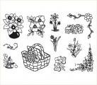 Gelová razítka - sada květiny v košíku 10 x 15 cm + akrylový blok