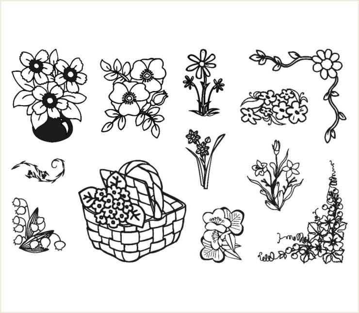 Gelová razítka - sada květiny v košíku 10 x 15 cm + akrylový blok ostatní