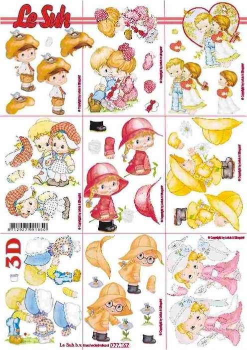 Miniatury chlapeček a holčička - 3D papír